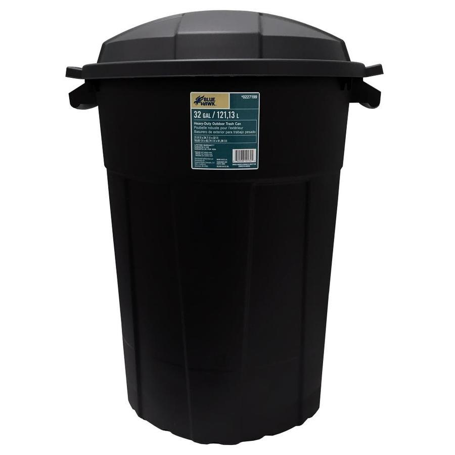 32-Gallon Black Plastic Outdoor Trash Can w/ Lid $ 9.98