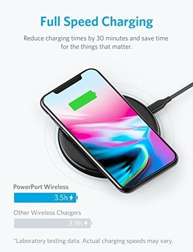 Anker PowerPort Wireless 5 Pad, 5W Standard Qi-Certified Ultra Slim Wireless Charger for iPhone X, iPhone 8/8 Plus (AC Adapter Not Included) $14.99