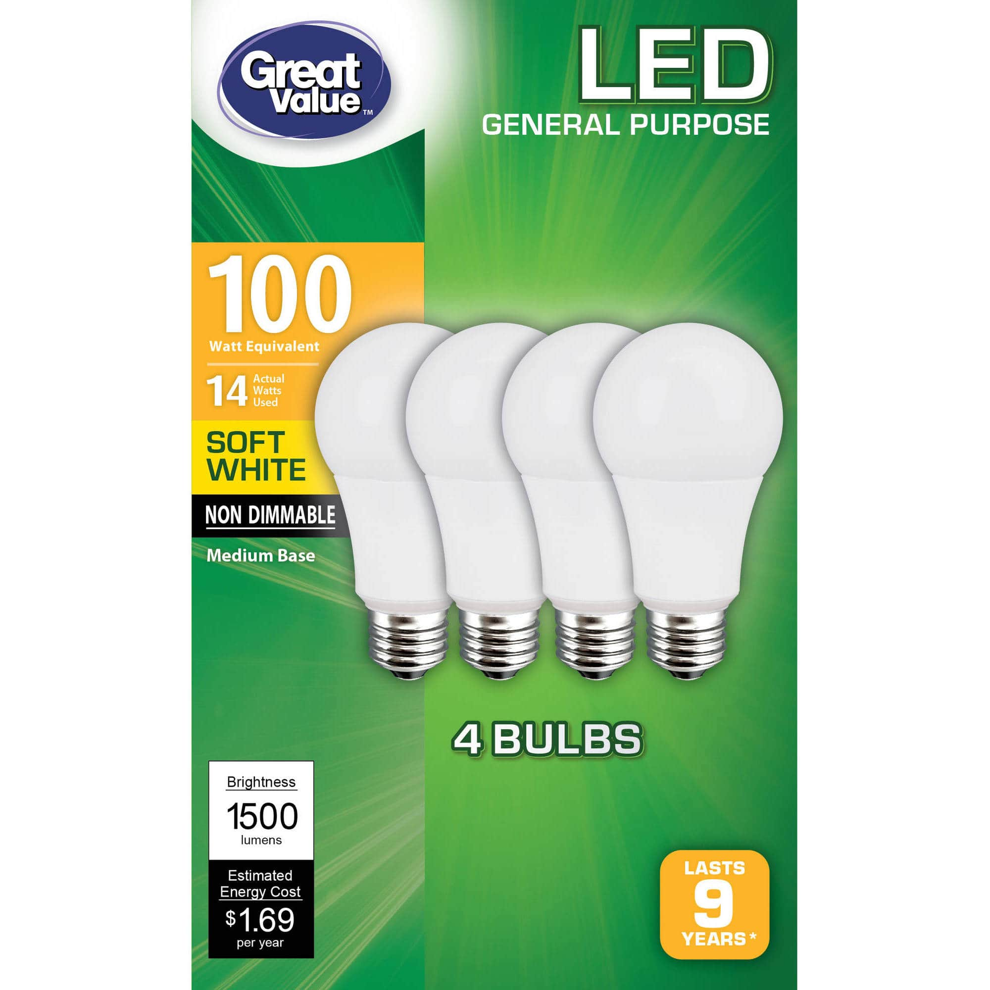 Walmart.com - 4pk 100W LED Light Bulbs Soft White - $7.97 Free store pickup or FS +$35
