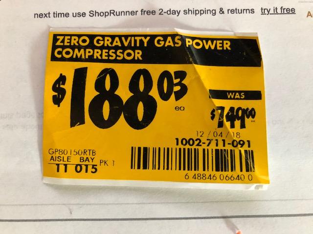Zero Gravity Gas Power Compressor  (Rigid 8 Gallon)  In  Store  YMMV ($188.03)  (Home Depot)