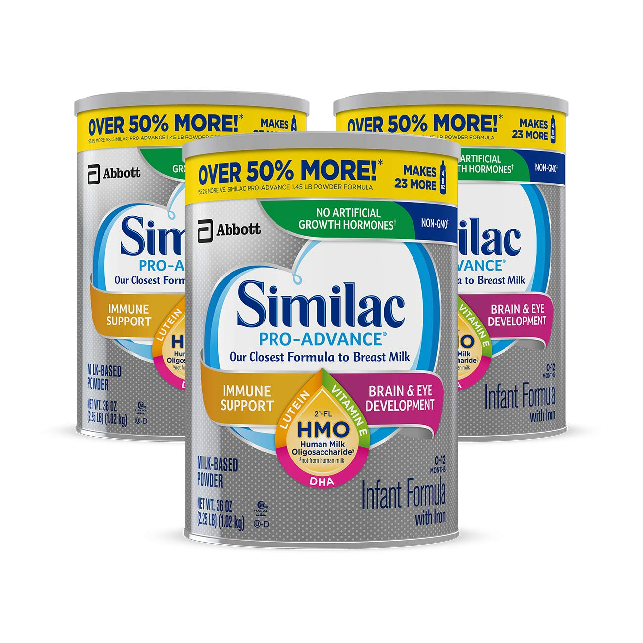 Similac Pro-Advance Non-GMO Infant Formula with Iron, with 2'-FL HMO, for Immune Support, Baby Formula, Powder, 36 oz, 3 Count (One-Month Supply $79