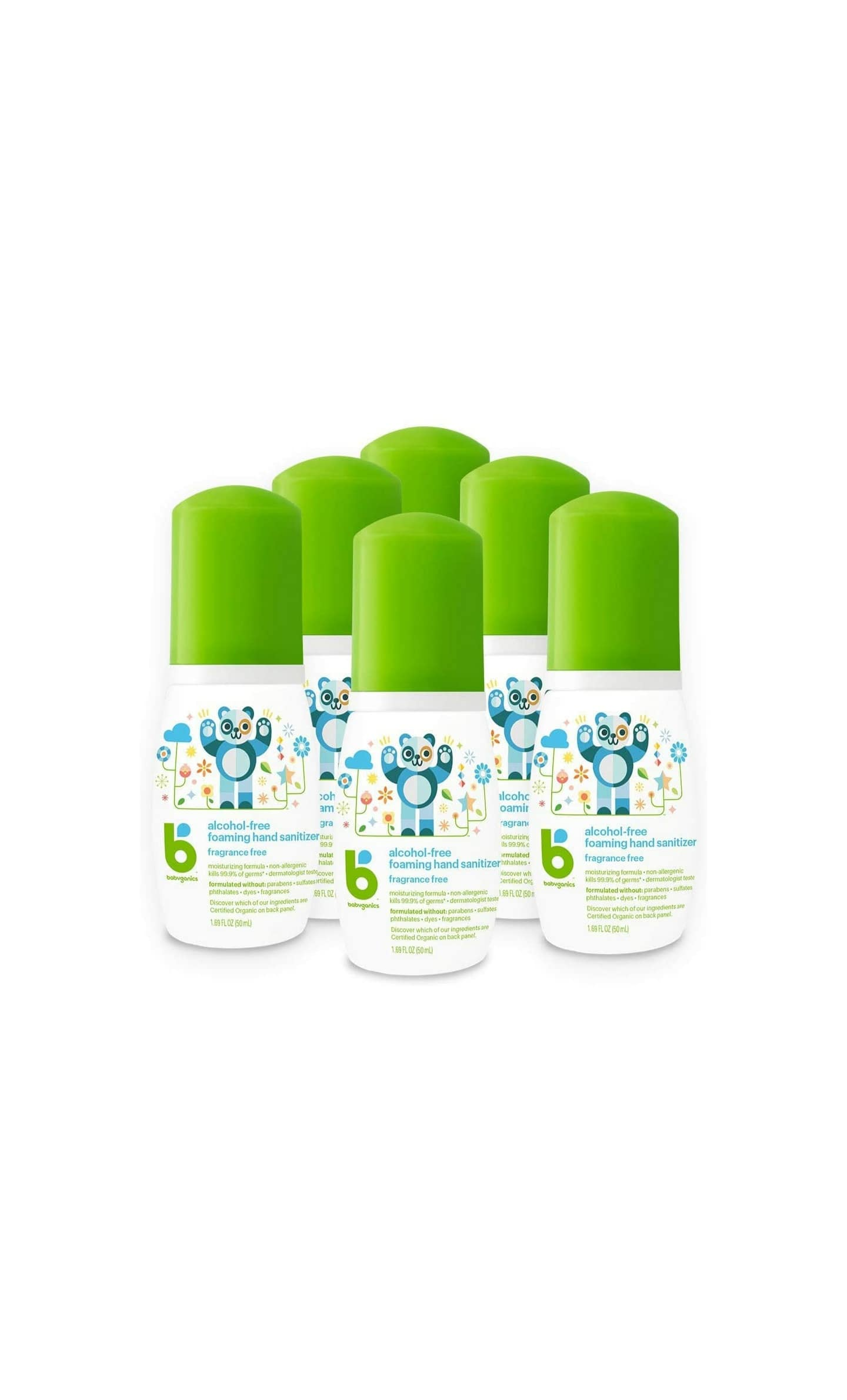 Babyganics Alcohol-Free Foaming Hand Sanitizer, On-The-Go, Fragrance Free, 1.69 oz, 6 Pack on Amazon for $19.74 or less