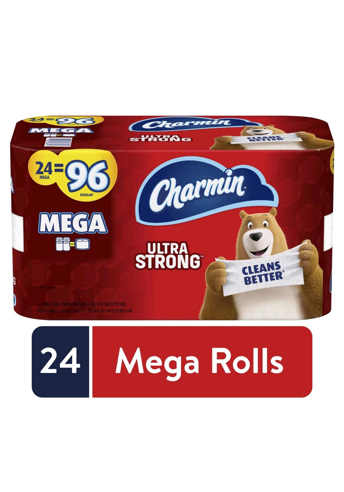Charmin Ultra Strong Toilet Paper, 24 Mega Rolls, 6864 Sheets for $23.82 on Walmart.com