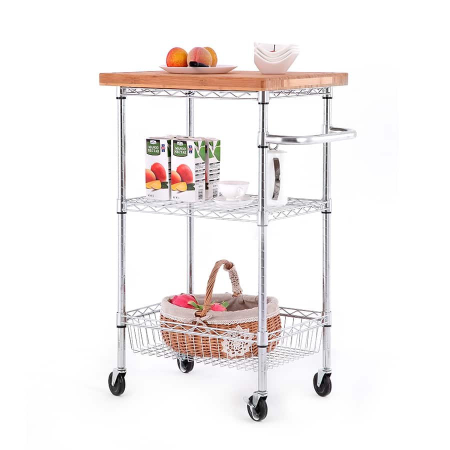 $59.98 Style Selections Kitchen Cart   Easy To Assemble Steel Wire W/  Butcher Block Top