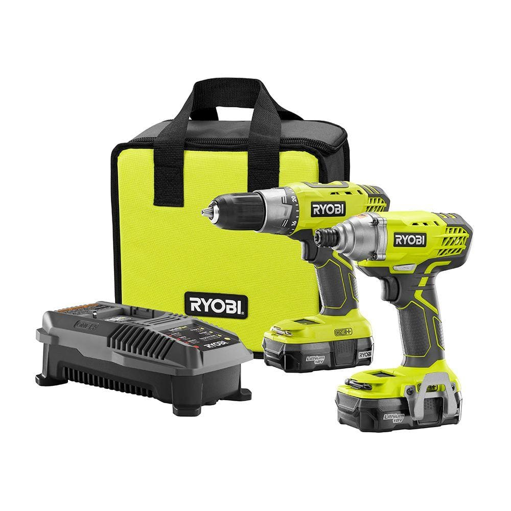 Ryobi 18-Volt ONE+ Lithium-Ion Cordless Drill/Driver and Impact Driver Combo Kit with (2) 1.3Ah Batteries, Charger and Bag - $99 free ship or in store pickup - Home Depot