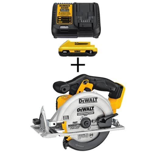 20-Volt MAX Lithium-Ion Cordless 6-1/2 in. Circular Saw (Tool-Only) with Bonus Battery Pack 3.0Ah and Charger $129