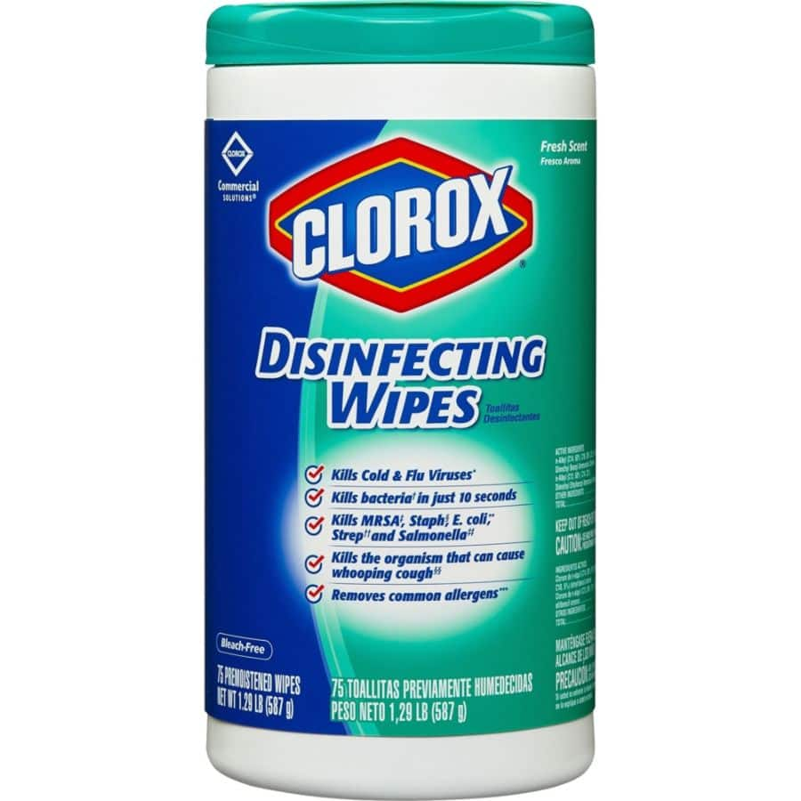 Clorox Disinfecting Wipes, Fresh Scent, Pack Of 75 Wipes from Office Depot $1.99.  See links below for additional items