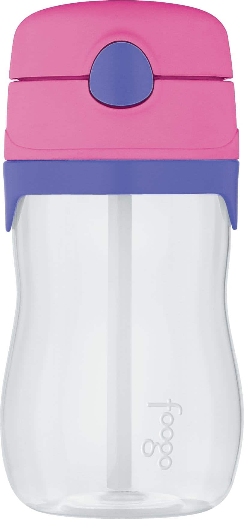 THERMOS FOOGO Vacuum Insulated Stainless Steel 10-Ounce Straw Bottle, Pink/Purple - $8.99
