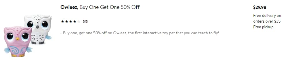 BOGO 50% Off  Owleez, Flying Baby Owl Interactive Toy with Lights and Sounds, White & Pink $29.98