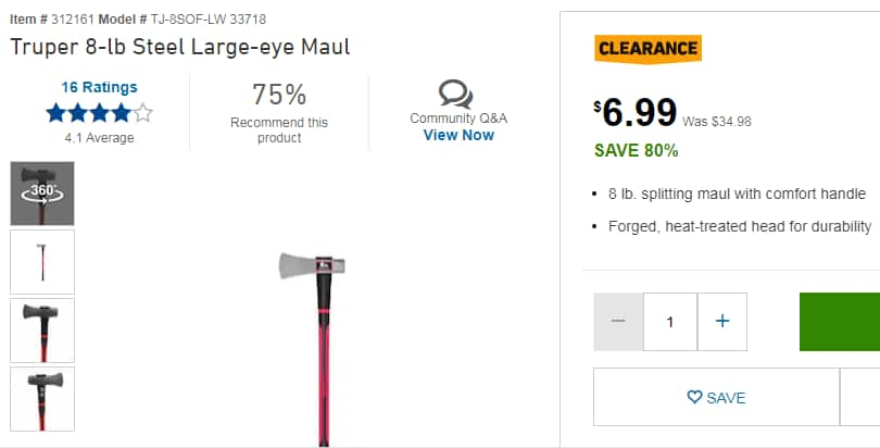 YMMV Truper 8-lb Steel Large-Eye Splitting Axe / Maul Item # 312161 $6.99