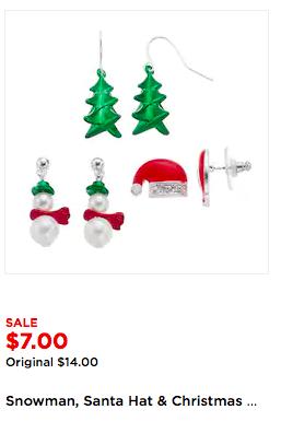 Kohl's Christmas Jewelry Sets:  Sets of 3- Earrings, Bangle Bracelets, $5.25 after F&F code