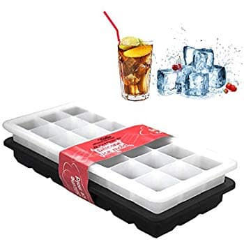 Silicone Ice Cube Trays with Lids - 42 Ice Cube Mold Storage Containers - White and Black Set of 2 $5.99