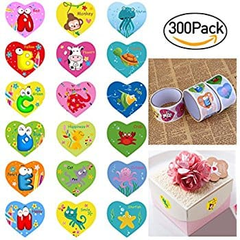 Valentine Stickers Heart Stickers Animal Stickers for Kids with 18 Different Design, Pack of 300 $7.19