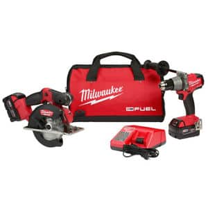 Milwaukee 2898-22 M18 FUEL Hammer Drill and Metal Circular Saw Combo Kit $329