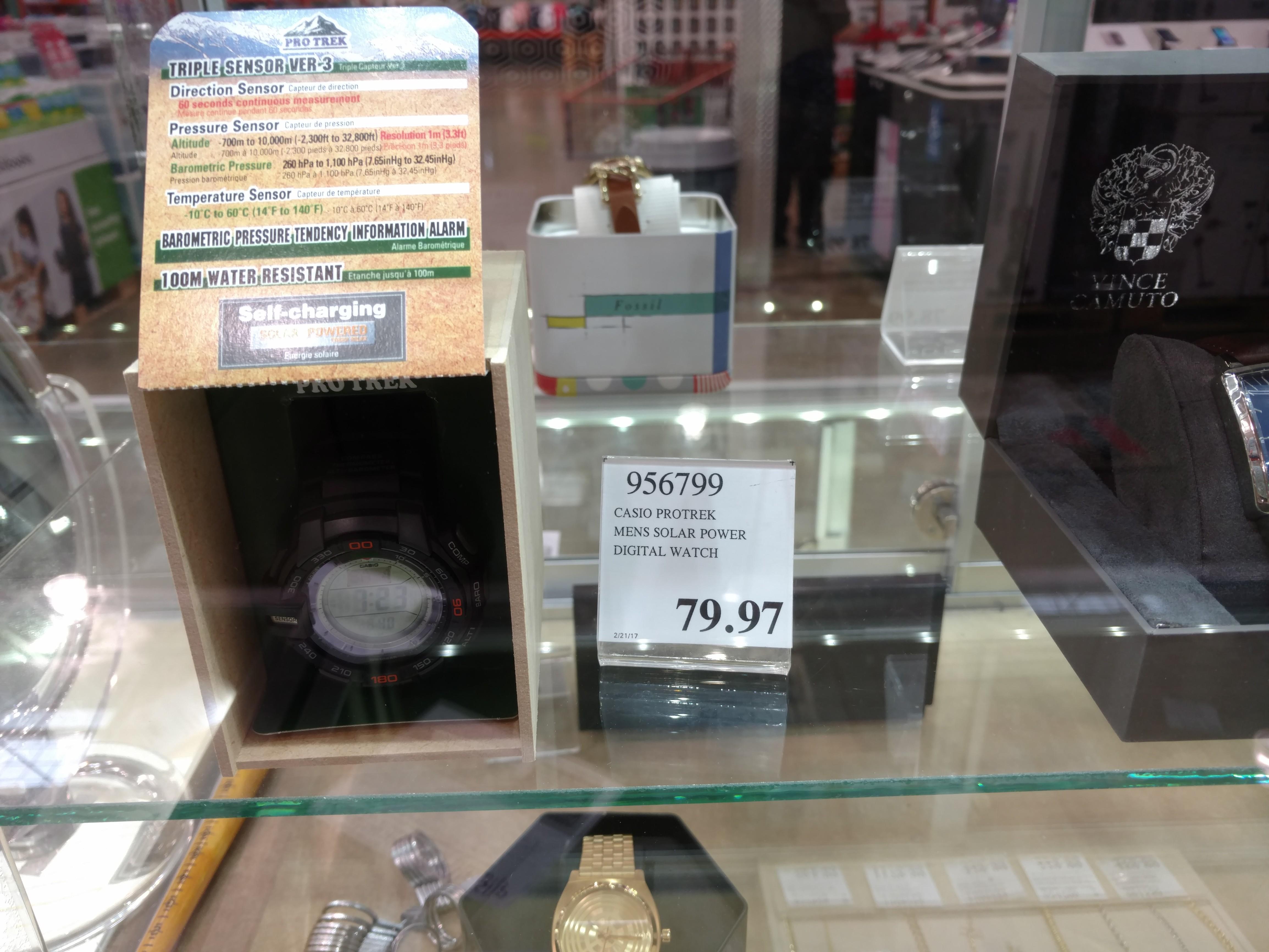 Casio Pro Trek PRG270 triple sensor solar watch $79.97 Costco online and B&M