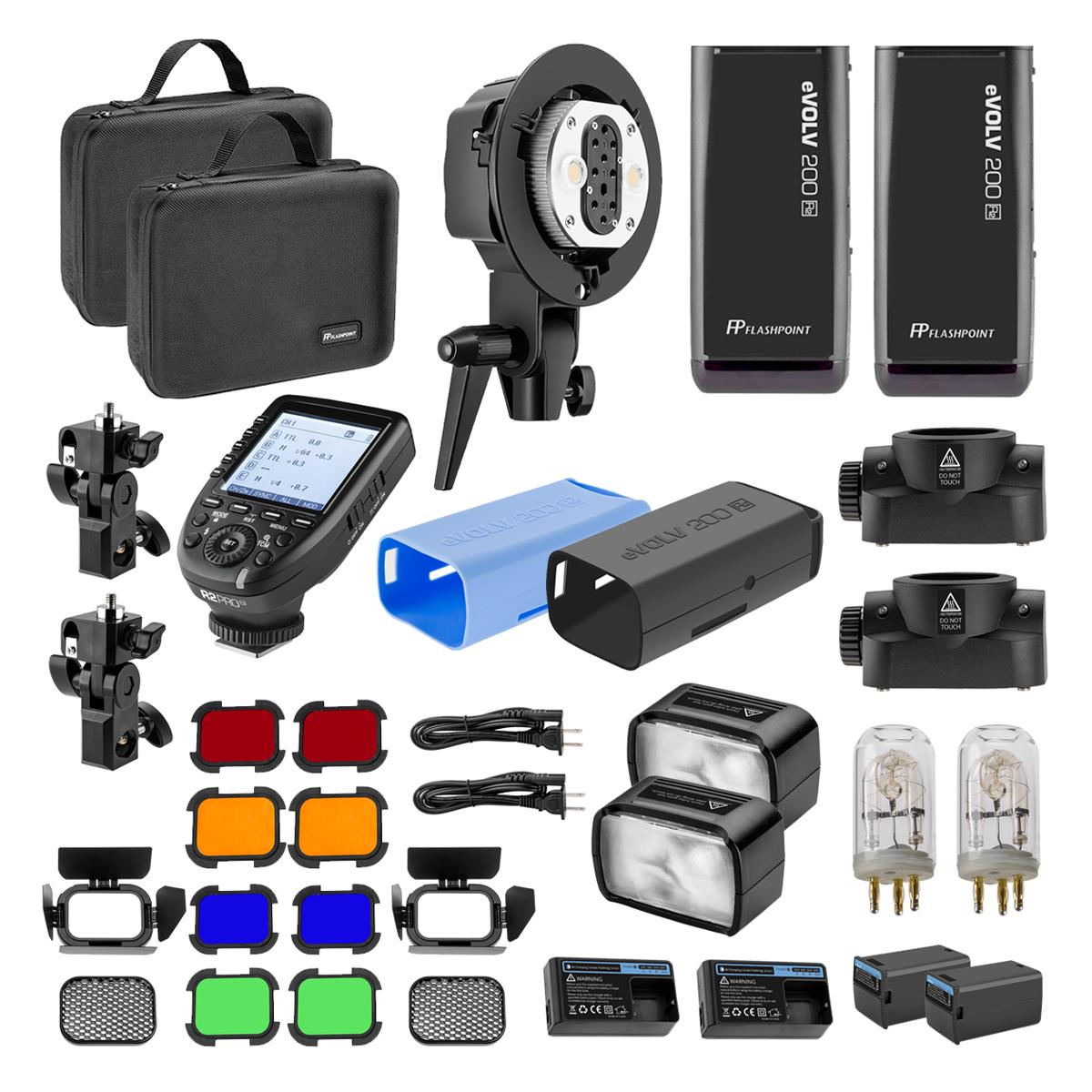 Flashpoint eVOLV double strobe kit deal! $530 for 2 eVOLV strobes, twin head adapter, R2 Pro transmitter, and more