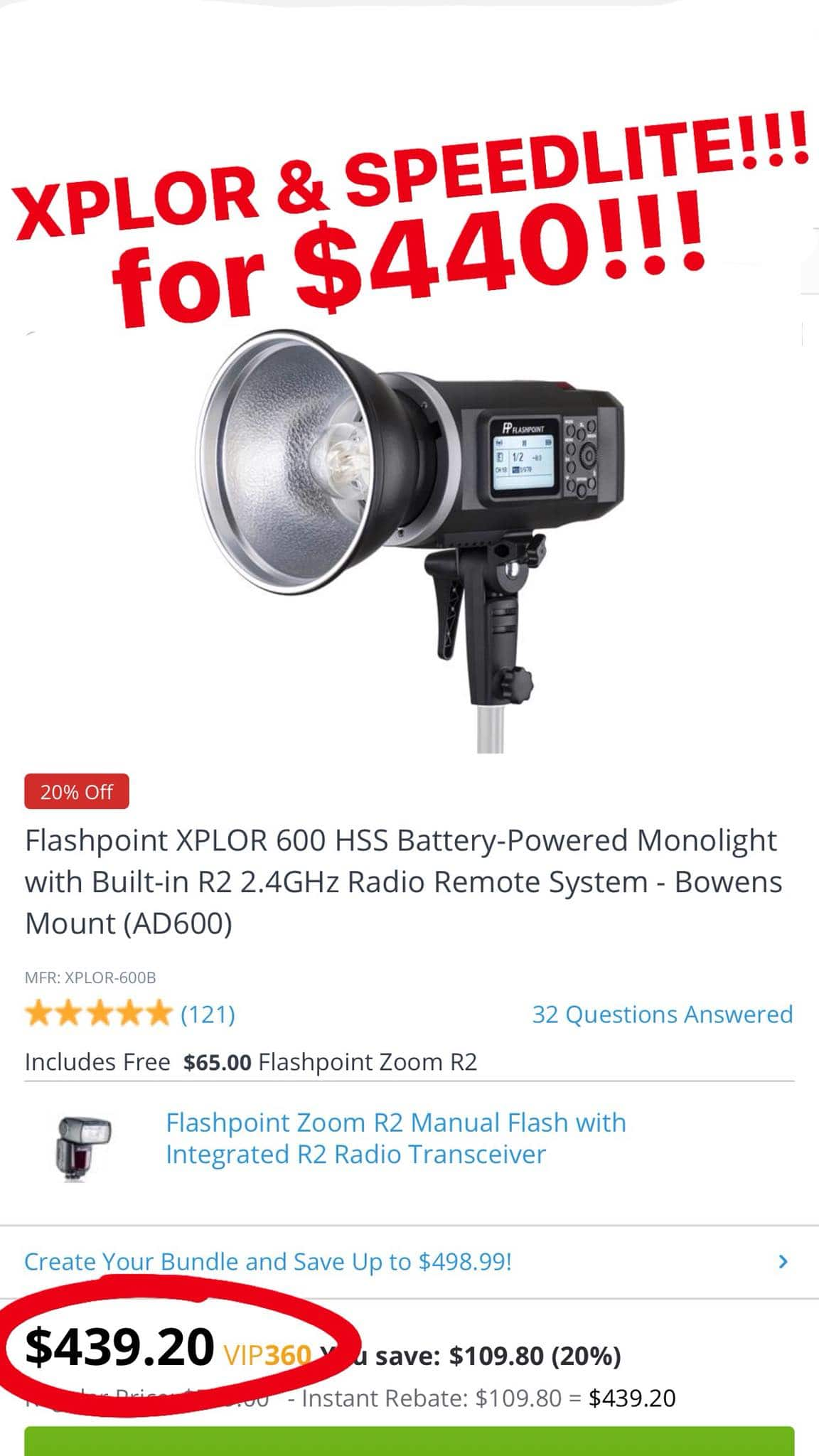 Flashpoint Xplor non-TTL Strobe with free Speedlight for $439 + free s/h, (add transmitter for $35) $439
