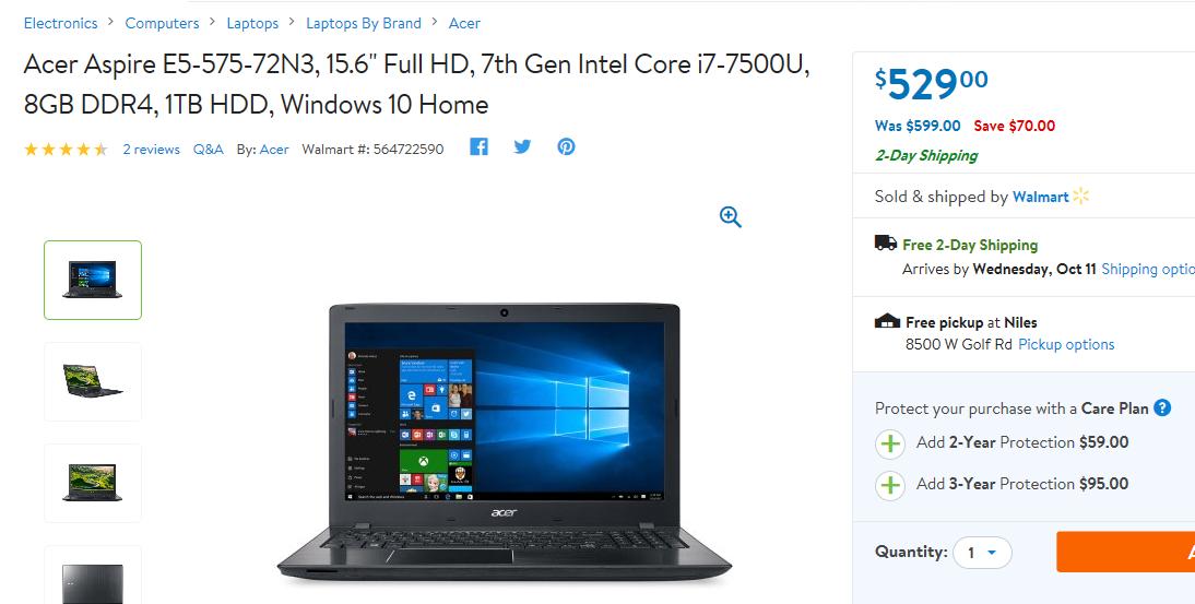Walmart - Acer Aspire Laptop - 15.6 inch Full HD, 7th Gen Intel Core i7-7500U, 8GB DDR4, 1TB HDD, Windows 10 Home $529