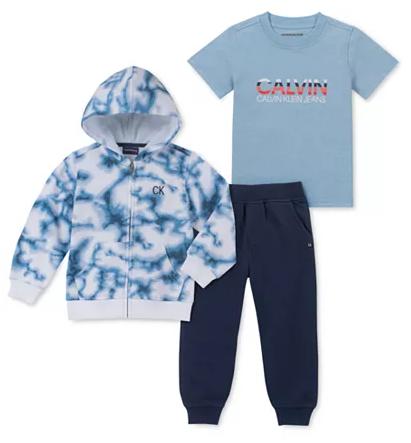 $9.96 Little Boys 3-Pc. Full-Zip Hoodie, T-Shirt & Joggers Set