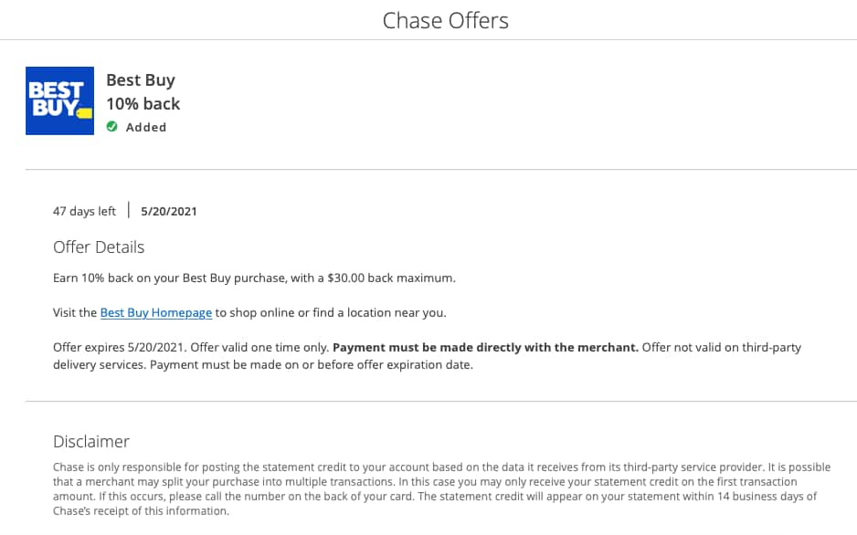 Chase Offers (Sapphire Preferred )Earn 10% back on your Best Buy purchase, with a $30.00 back maximum.