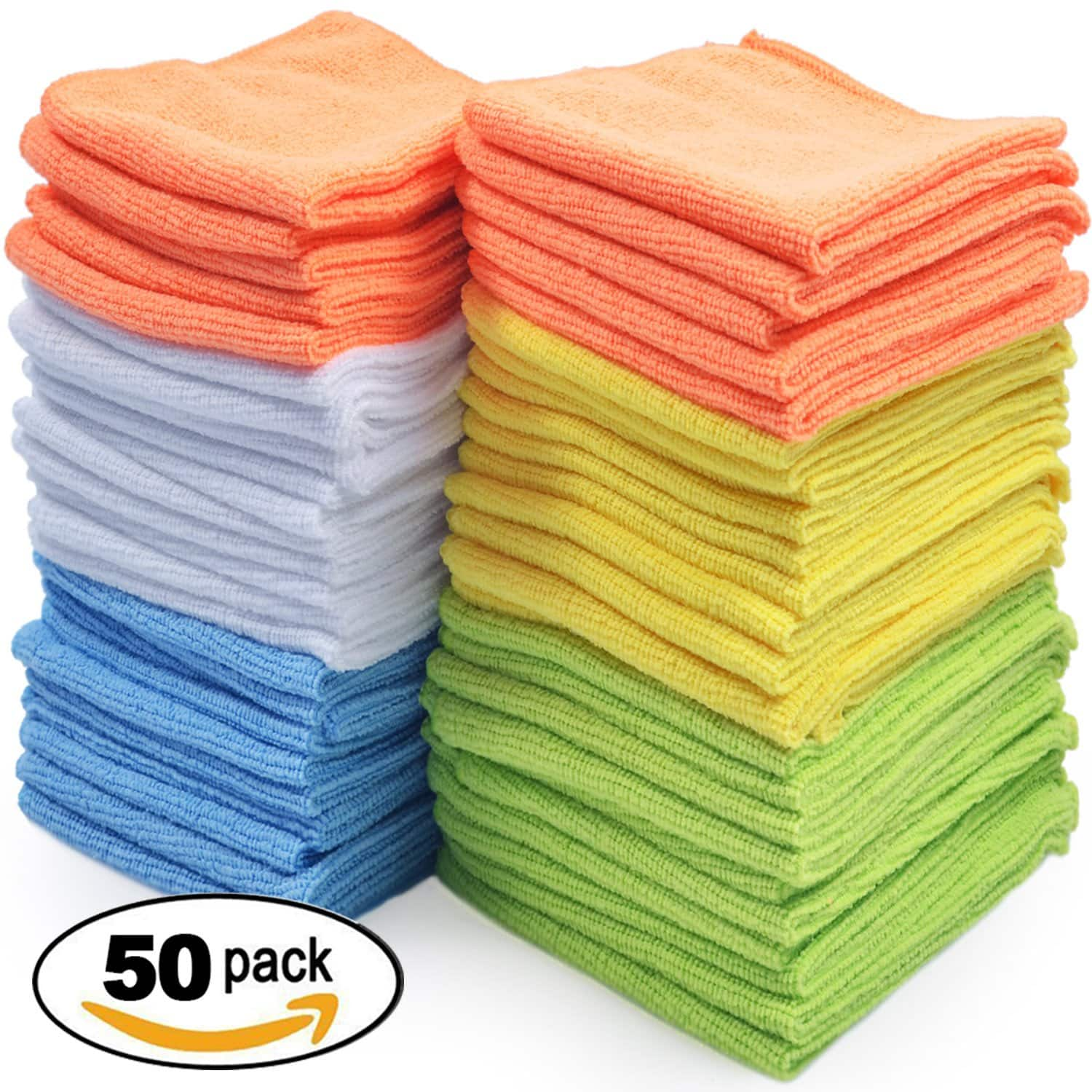 Microfiber Cleaning Cloths – Pack of 50 Towels (Time to clean the cars boys) $15.99