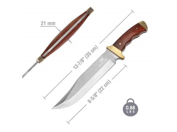 (Woot) Mossy Oak 14-inch Bowie Knife, Full-Tang Fixed Blade Wood Handle with Leather Sheath ($9.99)