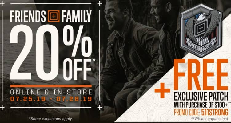 5.11 Tactical's 20% off sitewide [7.25.2019 - 7.28.2019] $39.99