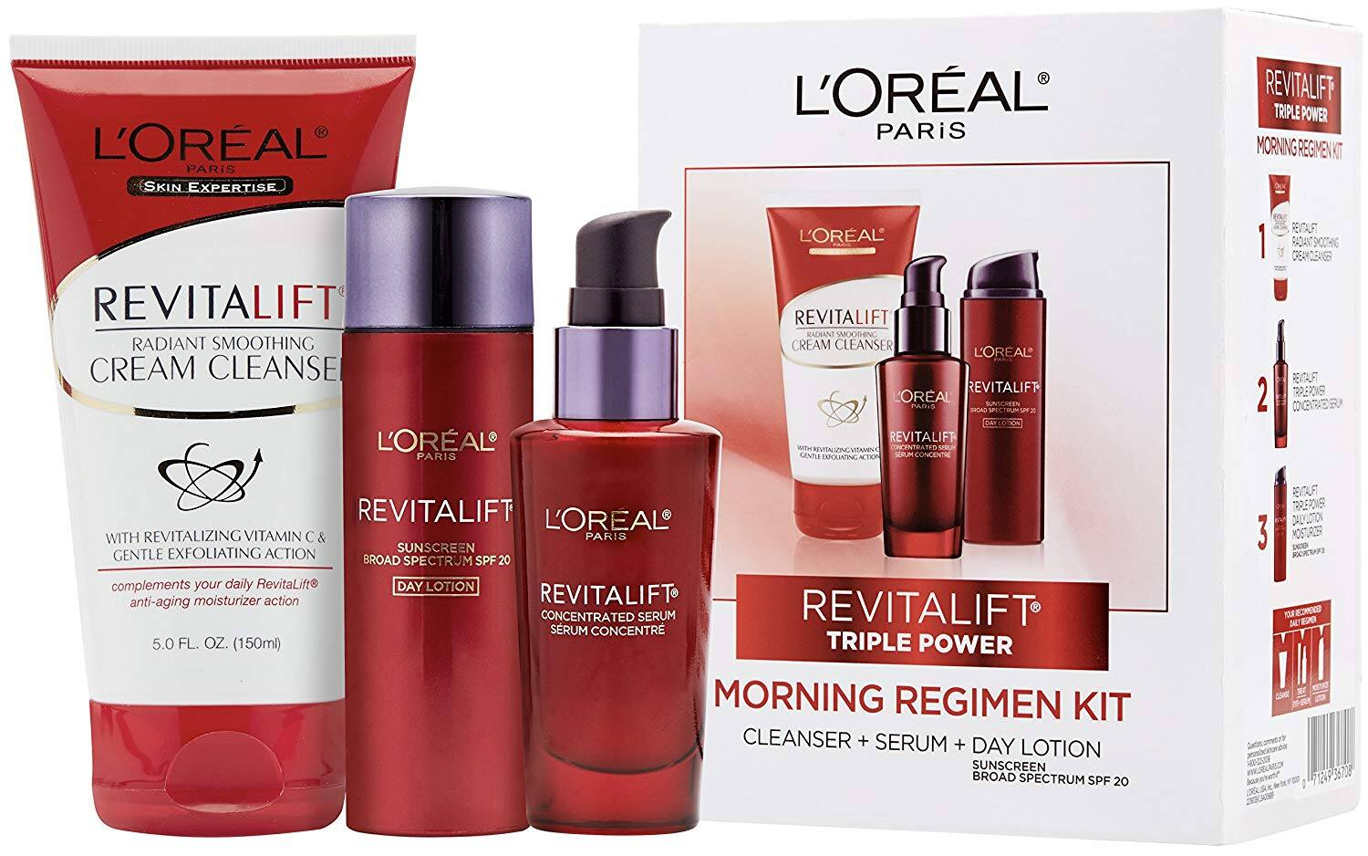 L'Oreal Paris Revitalift Cleanser, Serum, Day Lotion Gift Set - $36.55 - Free Shipping for Amazon Prime Members