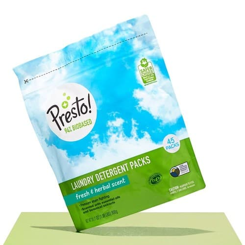 Amazon Brand - Presto! 94% Biobased Laundry Detergent Packs, Fresh & Herbal Scent, 90 Loads (2-pack, 45 each) - $13.99 (Prime members only)