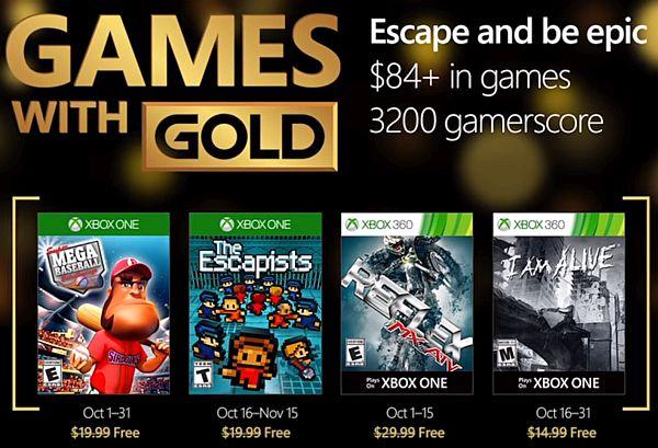Xbox Games with Gold October 2016: Super Mega Baseball, The Escapists for Xbox One & MX vs ATV Reflex, I Am Alive 360 Free (XBL Gold Membership Req.)
