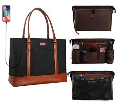 Woman Laptop Tote Bag,USB Teacher Bag Large Work Bag Purse Fits 15.6 in Laptop $23.99