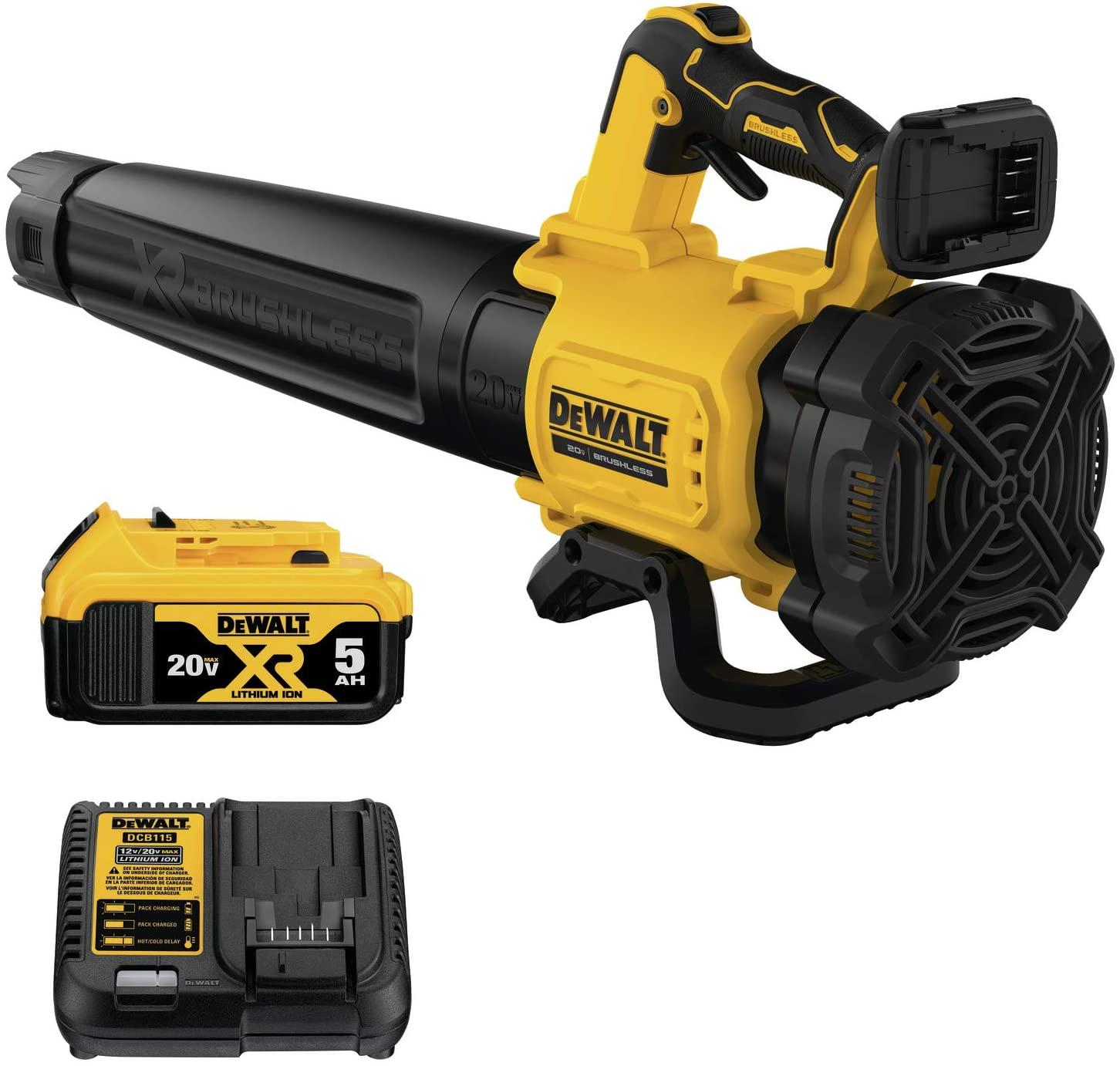 DEWALT DCBL722P1 leaf Blower Gen 2 with 5.0 Amp Battery Charger at 166.00$