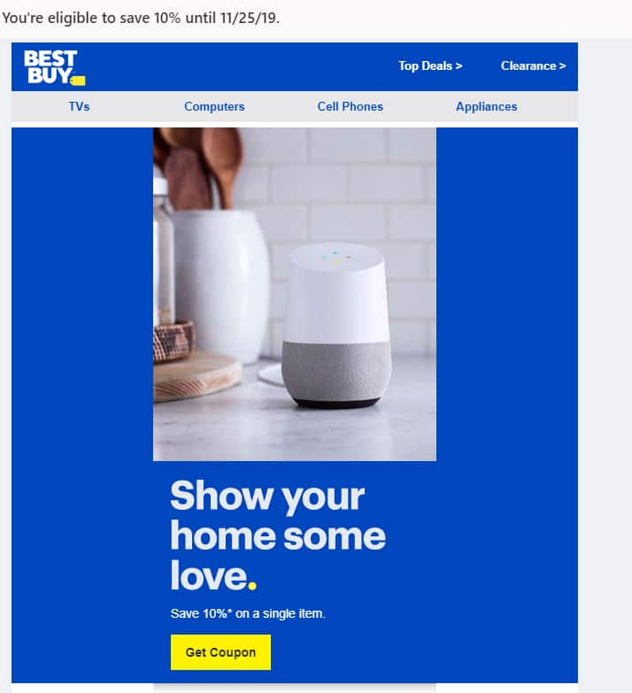 Best Buy 10% Off Coupon for targeted Members received via email