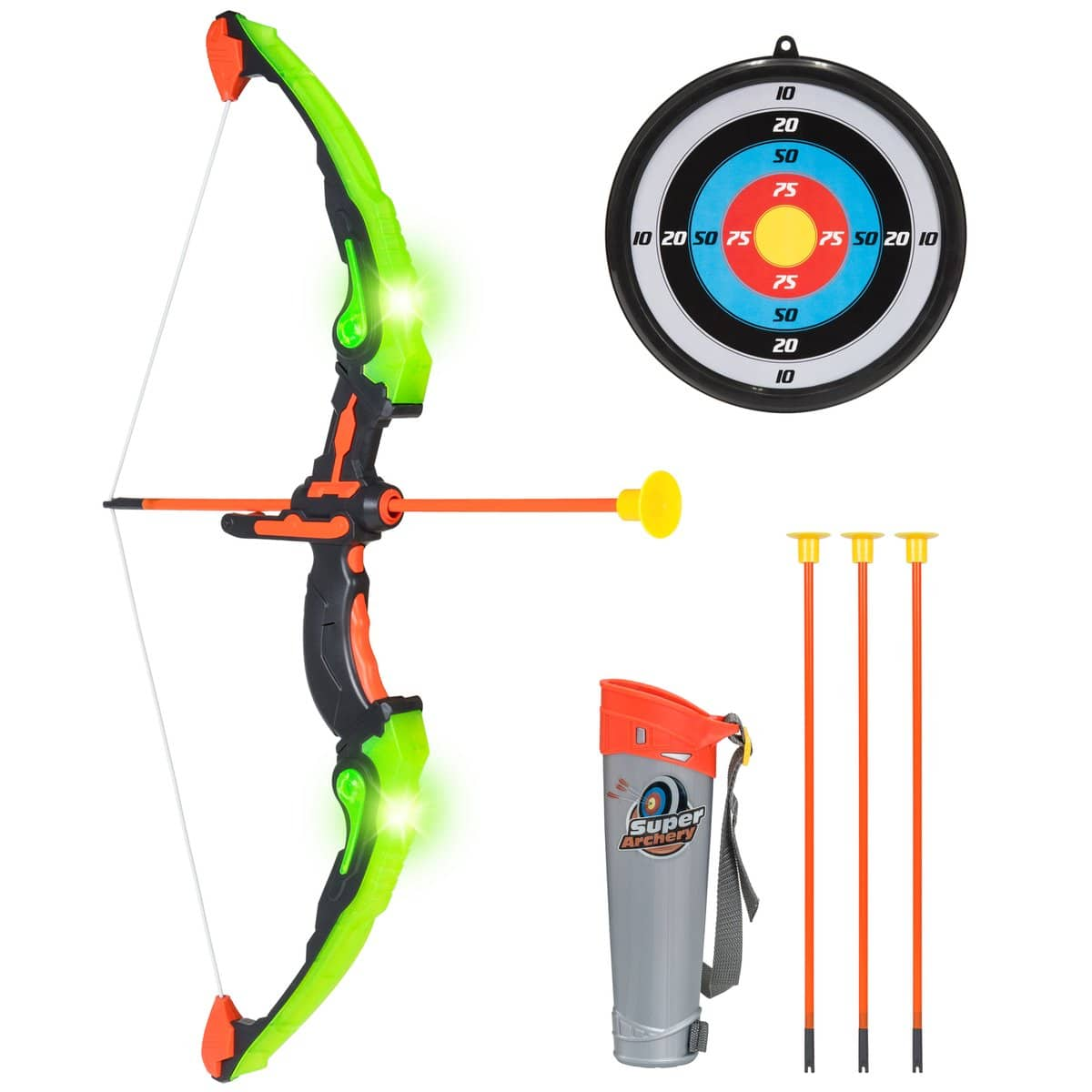 Kids 24in Light-Up Archery Toy Play Set w/ Bow, 3 Arrows, Quiver, Target $18.99