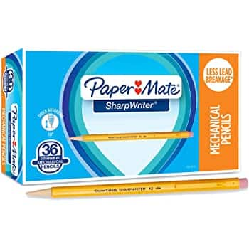 36 Count Paper Mate SharpWriter Mechanical Pencils, 0.7mm, HB #2, Yellow - $6.45