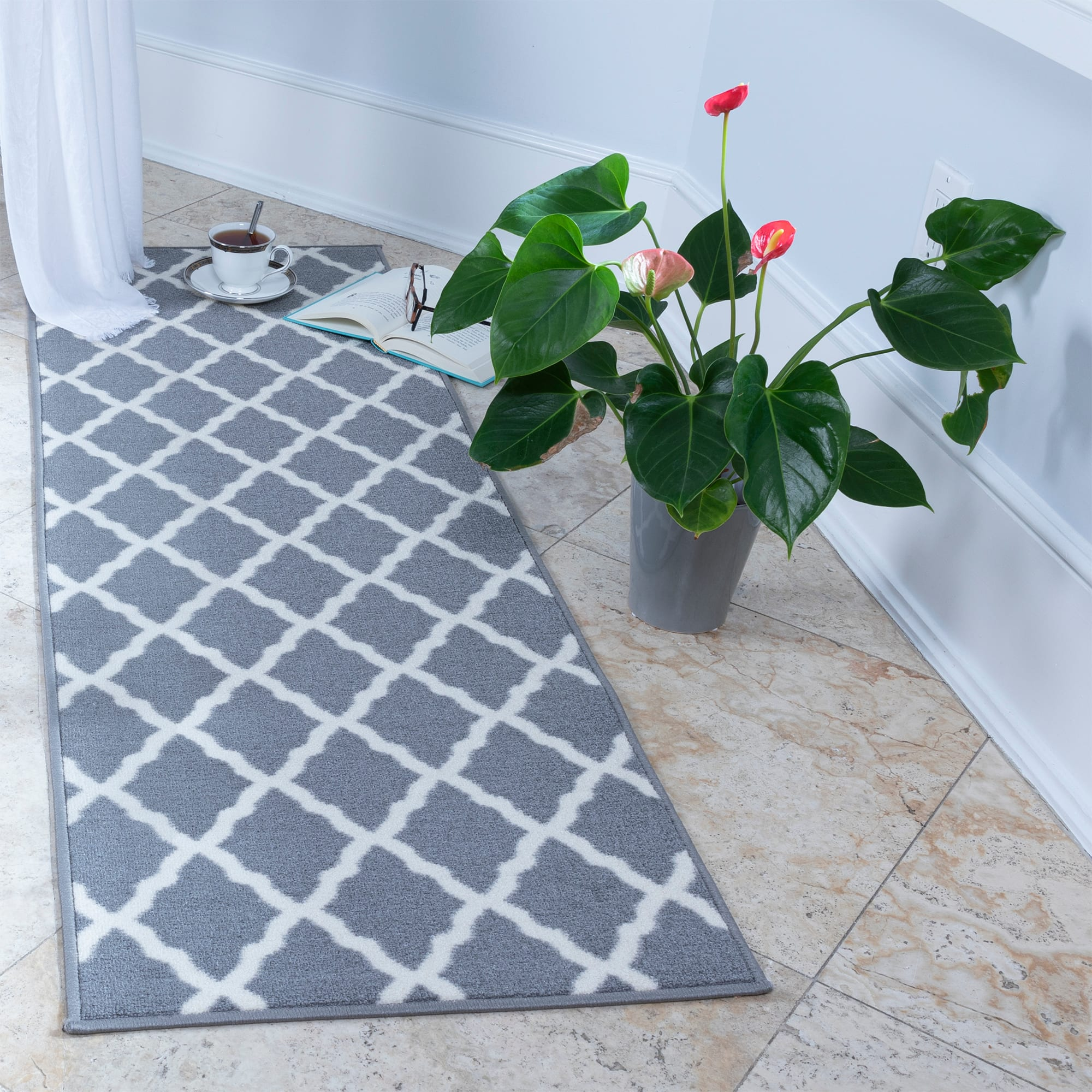 "20"" x 59"" Ottomanson Glamour Collection Moroccan Geometric Trellis Non Slip Rubber Backing Area or Runner Rug (Gray) - $12.50"