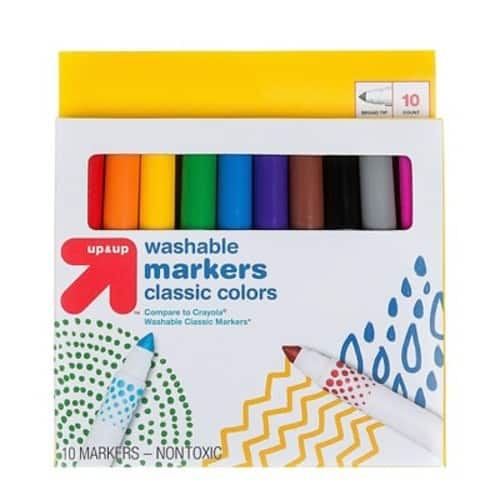 10ct Up&Up Broad Tip Washable Classic Colors Markers - $0.65 + Free Store Pickup