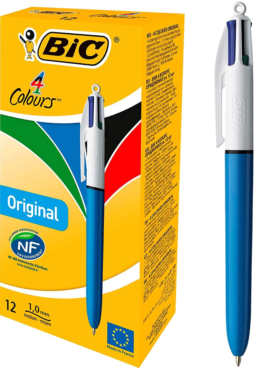 12 count BIC 4-Color Ballpoint Pen, Medium Point (1.0mm), Assorted Inks - $10.04