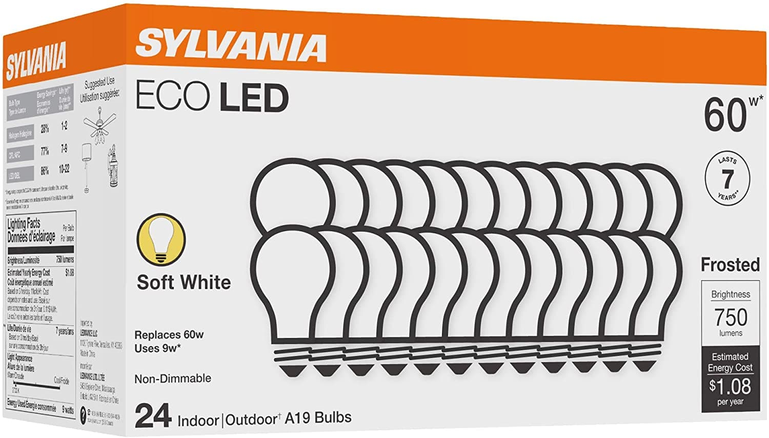 24-Ct Sylvania A19 60W LED Light Bulbs: Soft White or Daylight Color - $16.99