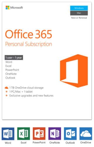 Office 365 Personal (1 User) - $26.99/yr from ANT Online via EBay