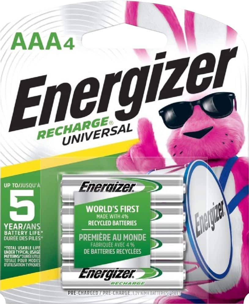 4-Pack Energizer Recharge Universal Rechargeable AAA Batteries - $6.47