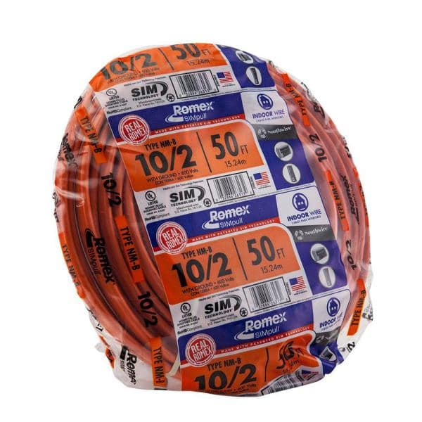 Southwire Romex 50' 10/2 with ground NM-B, Orange 11.24 +FS (23cents/ft) $11.23