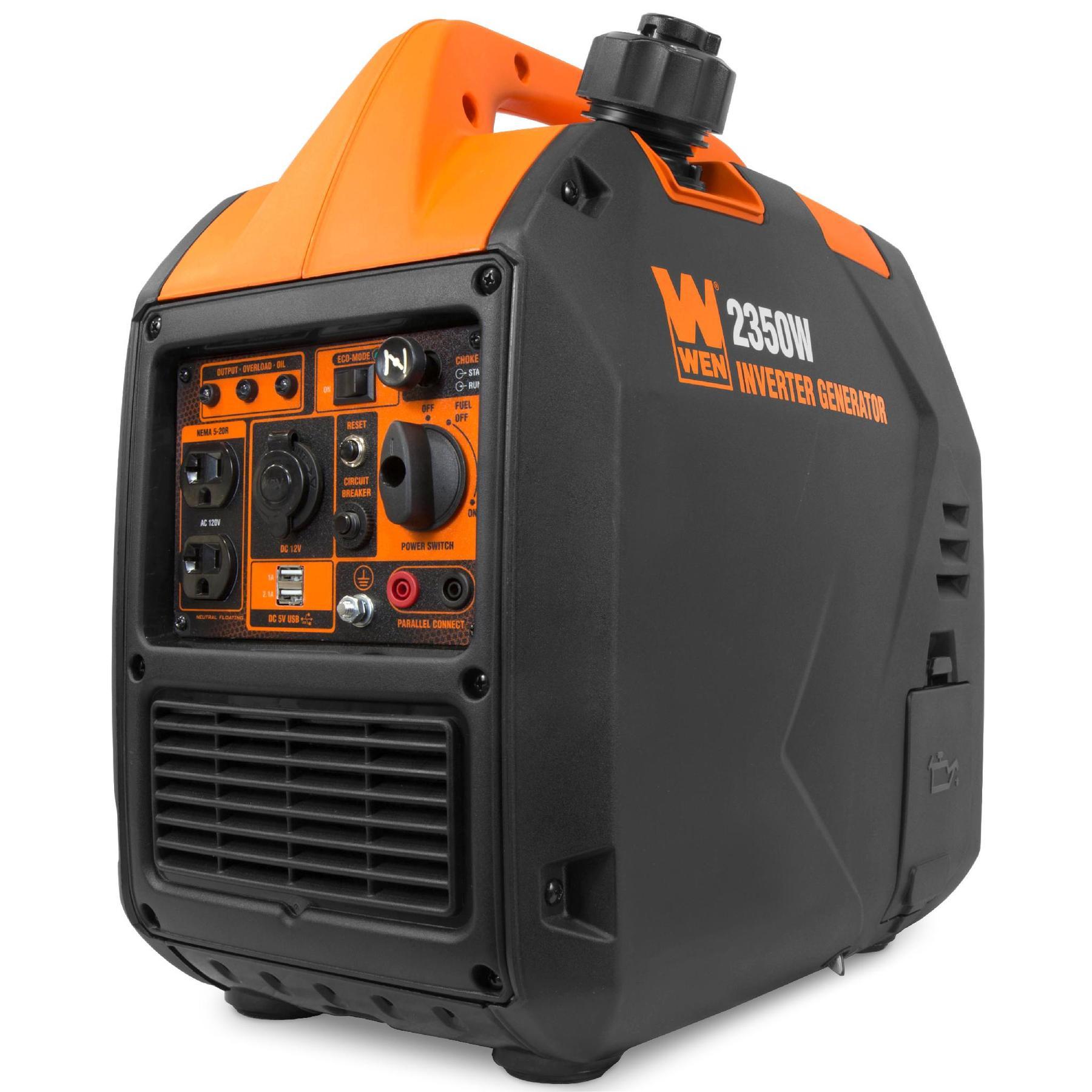 WEN 56235i  78 cc  2350/1900 watt  inverter generator 39 lbs  fuel shut off 8.3 A 12V DC sold and shipped by Walmart.com free shipping $399