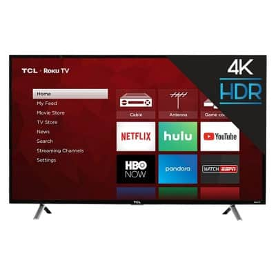 "TCL 49"" 4K UHD HDR Roku Smart TV (49S405) in-store clearance: YRMV $185"