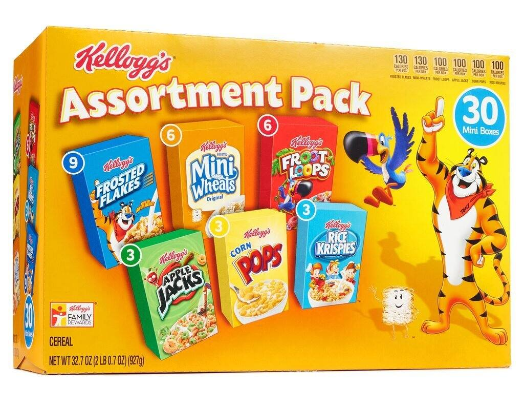 Kellogg's Breakfast Cereal Assortment Pack (Single-Serve Boxes, 30-Count)[Add-on]