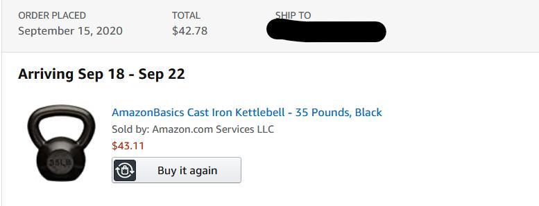 AmazonBasics Cast Iron Kettlebells [35 Pounds] $38.80 YMMV