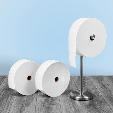 Charmin Forever roll toilet paper on sale!  $30 for 3 rolls and stand.  Free shipping!