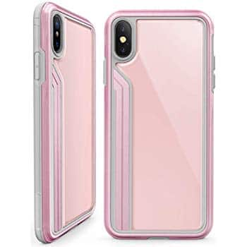 UP to 75% off, TGVIS iPhone Xs Max Case - Military Grade Drop Tested with Metal Pink Frame Tempered Glass Back Case + Free Shipping with Prime from $4.99