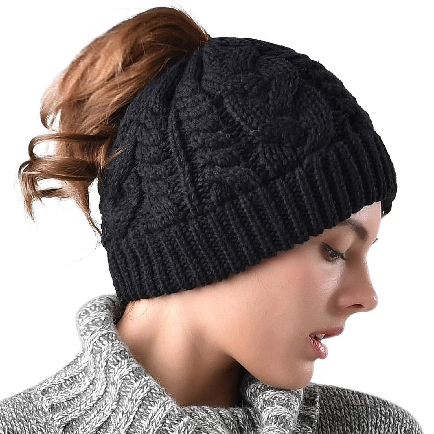 799fc74e2b3 40% off - Knit Ponytail Beanie Hat For Women Girls Winter Outdoor Sports  (Black)  8.39