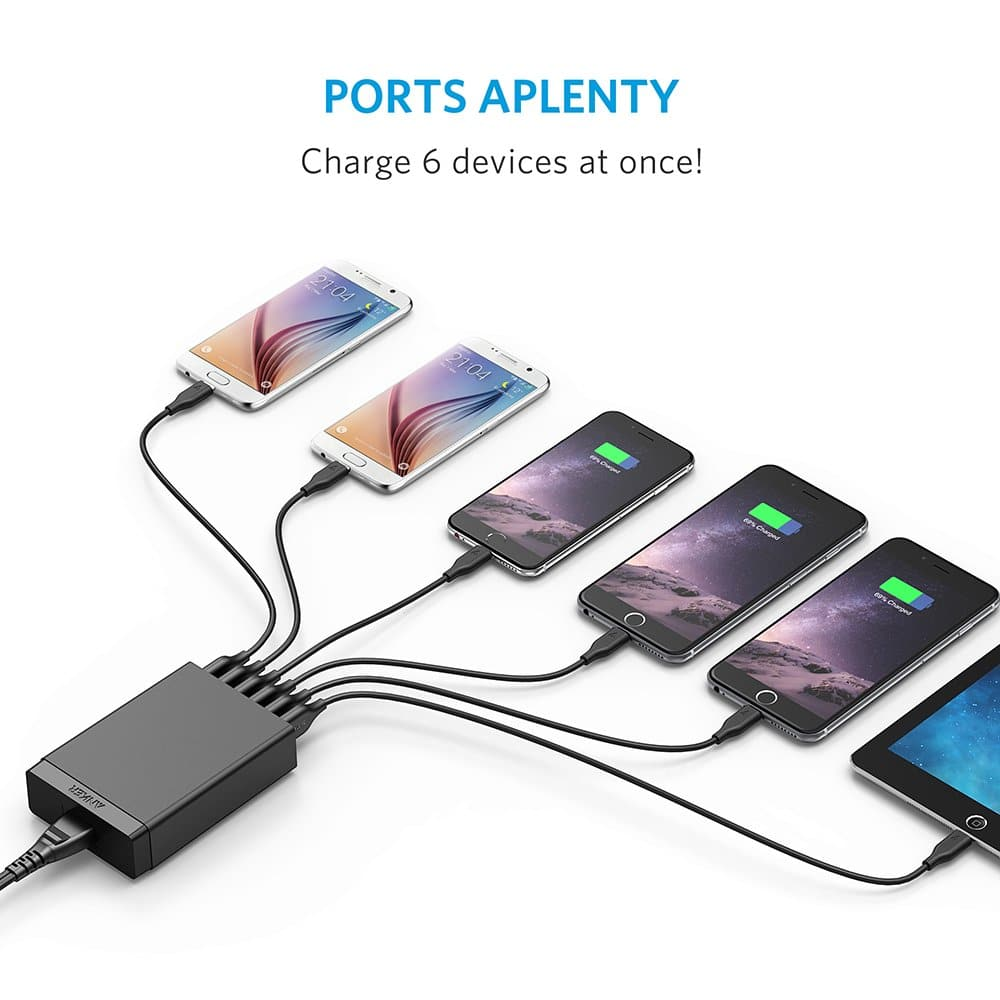 USB Charger, Anker 30W 6-Port USB Charger PowerPort 6 Lite for iPhone Xs/Xs Max/XR/X/8/7/Plus, iPad Air 2/Pro/Mini 3, Galaxy S9/S8/Edge/Plus, Note 8/7, LG G5 and More $11.99